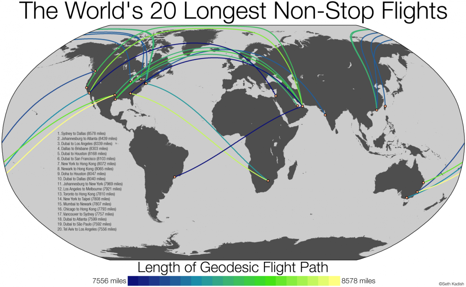 The Worlds Longest Nonstop Flights Mapped Leap Forward Travel - The 14 longest non stop flights in the world